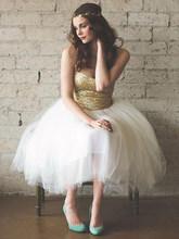 Короткое блестящее платье для выпускного вечера, без рукавов, длиной до колена, из фатина(Китай)