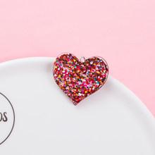 10 шт./лот блестки флэш сердце Шарм 16 видов цветов для DIY изготовления ювелирных изделий брелок ожерелья браслеты Смола сладкое сердце аксесс...(Китай)