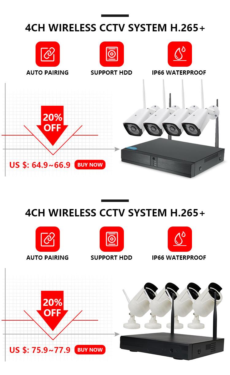 4ch 1080P אלחוטי NVR ערכת P2P 1080P מקורה חיצוני IR ראיית לילה אבטחה 2.0MP IP המצלמה Wifi טלוויזיה במעגל סגור מערכת
