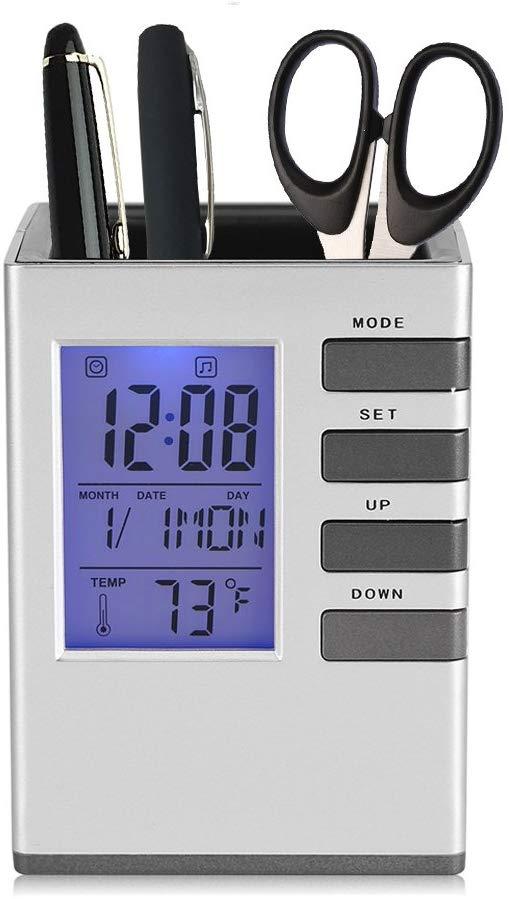 Digital Desktop Table Clock Pen Holder
