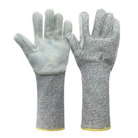 Extra Long 13 Gauge EN388 Cut Level5 HPPE Cut& Anti-SlipTear Puncture Abrasion Resistant Gloves with Cow Leather on Palm