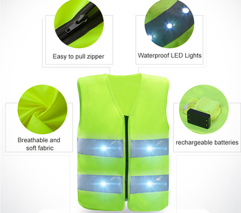 OEM Protect Children Walk Bad Weather LED Flashing Security Hi Vis kids Reflective Safety Vest