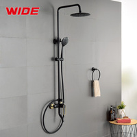 Triple function matt black wall mounted brass shower faucet system set with hand spray