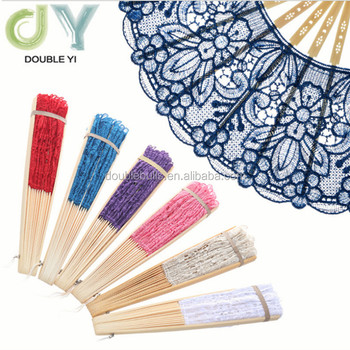 Wedding supplies bamboo lace hollow folding hand fan with tassel