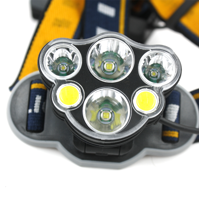 Goldmore Ultra Bright USB Rechargeable Waterproof 8 Modes 6 LED Headlight with White Red Lights Head Lamp for Outdoor