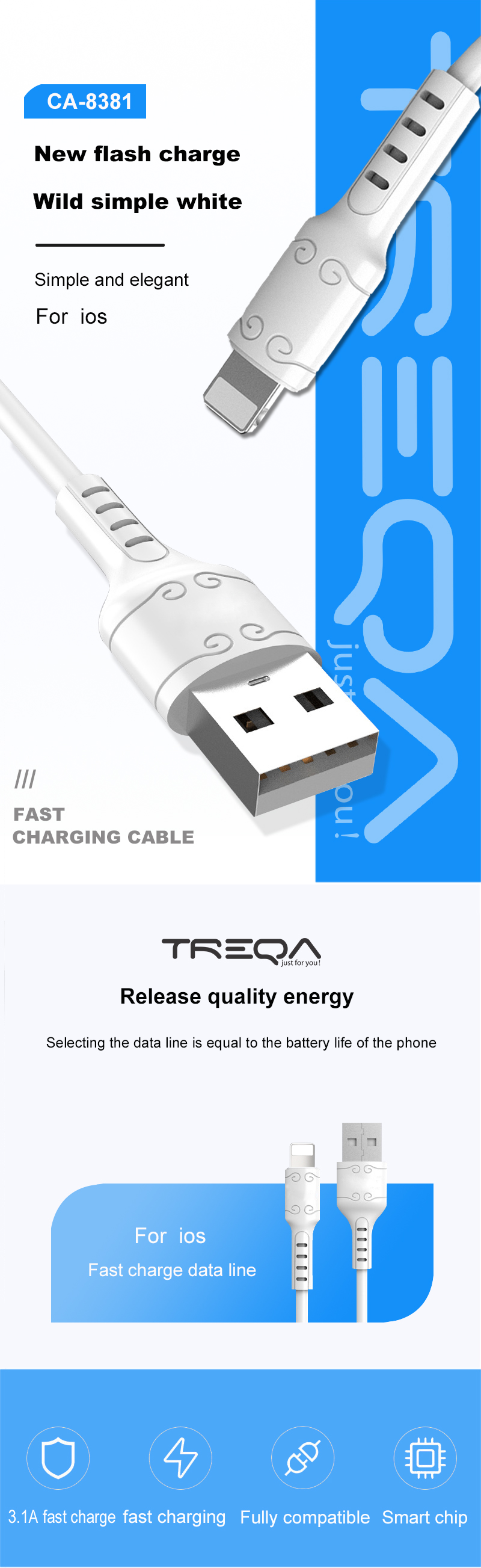 TREQA New Design USB Data Cable Charging type c USB cable white color cable  For Mobile Phone