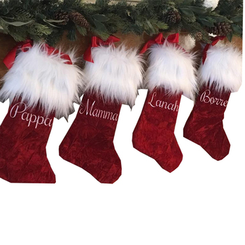 Wholesale Monogram Traditional Red Faux Fur Christmas Stocking