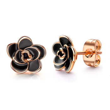 Wholesale 925 Sterling Silver 18K Gold Plated Black Rose Flower Stud Earrings for Women
