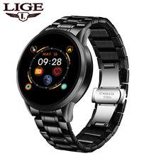LIGE Роскошные Смарт-часы для женщин водонепроницаемые спортивные фитнес-трекер для Android ios Reloj inteligente керамический ремешок Смарт-часы для муж...(China)