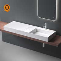 Customized Professional New Model Artificial Stone Wash Basin Rectangular Wash Basin Bathroom