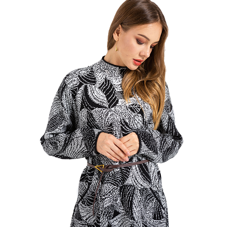 Hot Selling Widespreadmost Trustworthy Manufacturer Patterned Casual Knit Sweater Dress For Woman