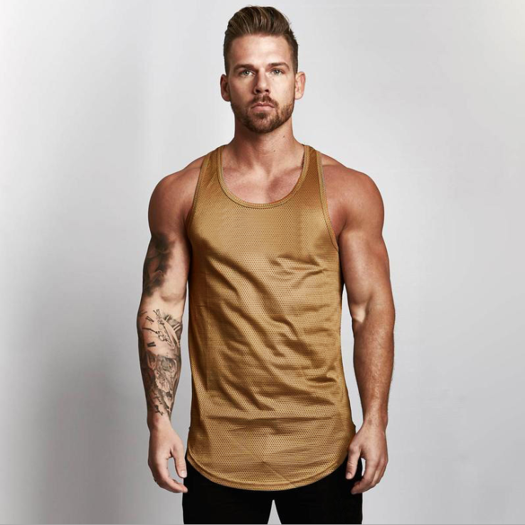 Blank Mesh Slim Fitness Top Men's Arc Hem Sports GYM Breathable Quick-drying Shoulder Vest 9