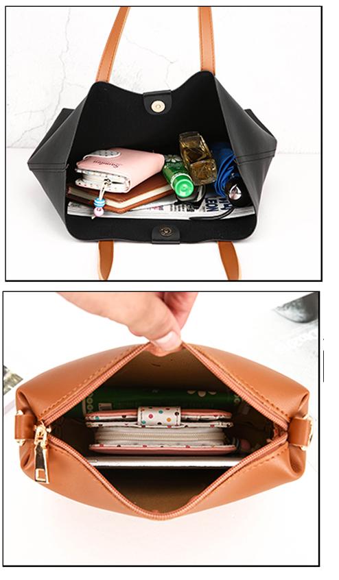 Wholesales Leather Tote Bag Set for Women Top Handle Handbag with Shoulder Sling Purses 2pcs in 1 sets Hand Bag Sets
