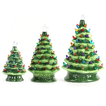 2020 Amazon decoration Bulb Lights Up Painting small Ceramic Christmas Tree Light Hand made Christmas Tree