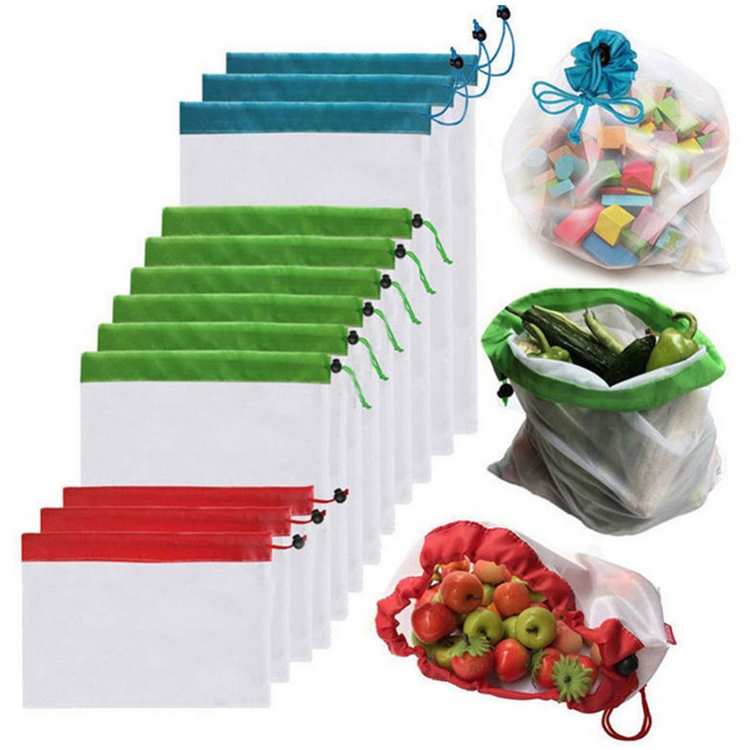Eco friendly Reusable Durable Grocery Market Packing Drawstring Bag Recycled Mesh Polyester Vegetable Fruit Storage Shopping Bag, White