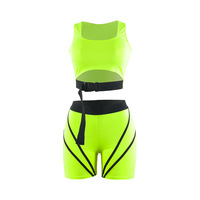 2 Two Piece Set Reflective Striped Neon Pink Biker Shorts Matching Sets Sexy Club Outfits Women Fall Clothing