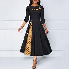 Элегантное женское платье трапециевидной формы в горошек с цветными блоками и круглым вырезом, 3/4 рукава, винтажное платье для выпускного в...(Китай)