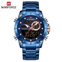 NAVIFORCE спортивные мужские часы, модные цифровые кварцевые наручные часы, стальные водонепроницаемые часы с двойным дисплеем и датой, Relogio ...(China)