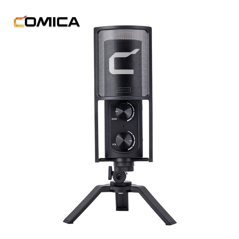 COMICA Versátil USB Condensador Cardióide Microfone Desktop para o Ensino
