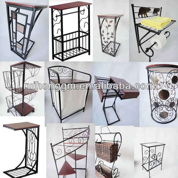 RH-GD2 Iron TV Sofa End table with wood top snack coffee table