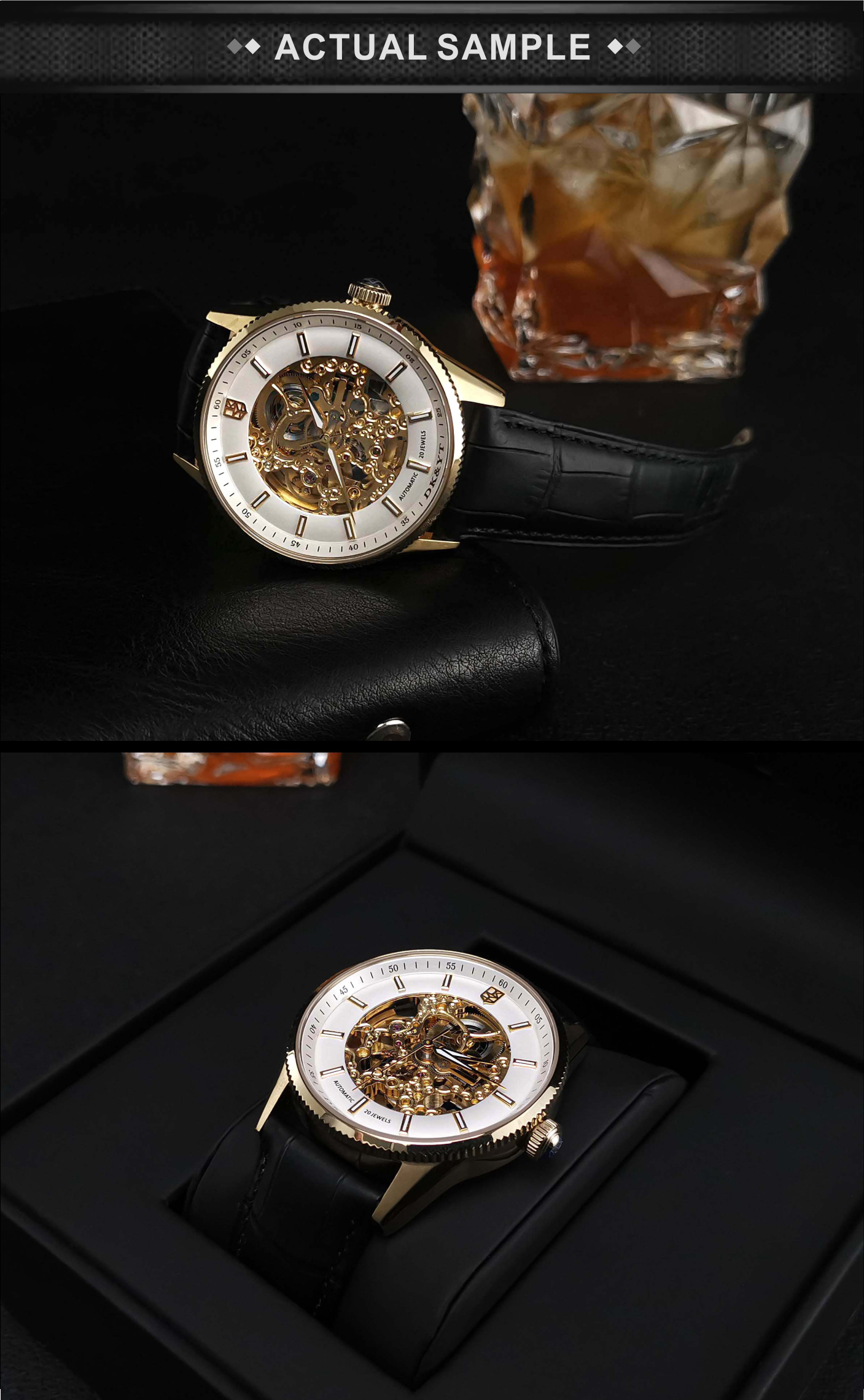High quality Customized Black Leather Gold Wrist Watches skeleton Mechanical Watches Men Luxury Brand Automatic