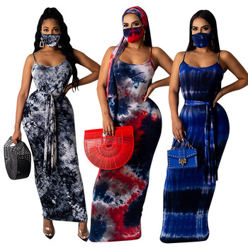 wholesale Tie Dye Printed Sexy round-necked low-cut Halter women dresses plus size dress