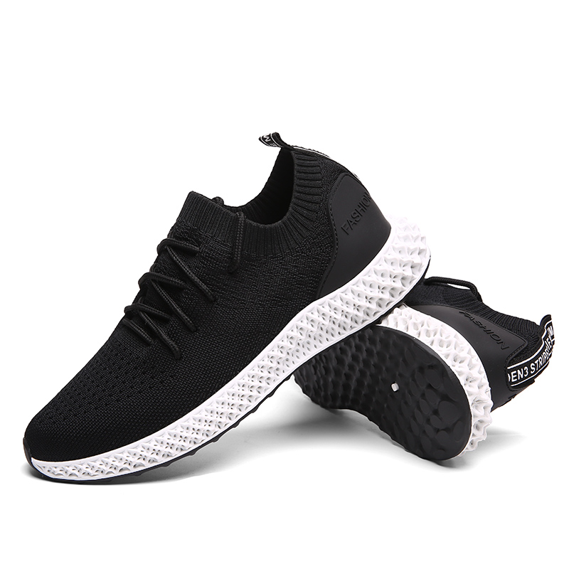 High quality boys fashion flying woven upper men light weight casual sport shoes