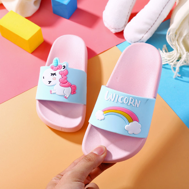 Comfortable PVC Plastic Printed Logo Home Kids Slippers Shoes Indoor Anti-slip Children Baby Girls Boys Unicorn Slippers New