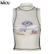 Женский короткий топ без рукавов Kliou, футболка с принтом и надписью на лето 2020(Китай)