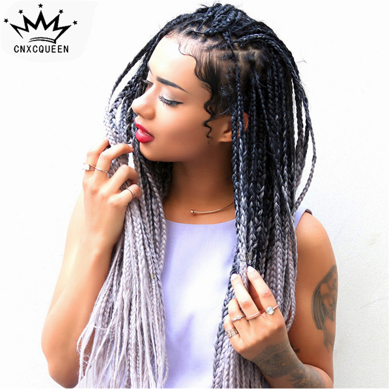 African American <strong>full</strong> box braided ombre <strong>synthetic</strong> <strong>lace</strong> front <strong>wig</strong> braid <strong>synthetic</strong> <strong>wig</strong> for black women