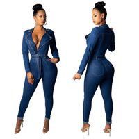 Amazon hot sale female zipper bodycon jean jumpsuits rompers jumpsuits long sleeves denim jeans for woman