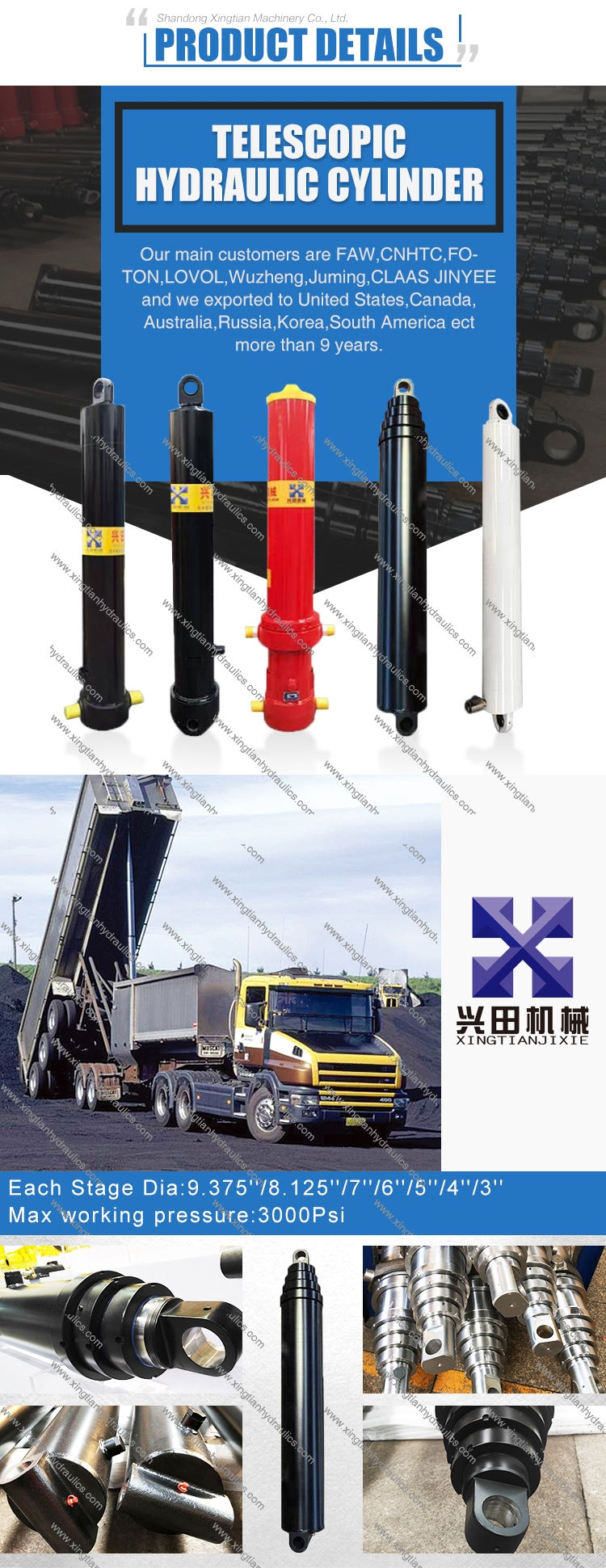 S85DC PARKER/HYVA type multi stage telescopic hydraulic cylinder for trailer,dump truck