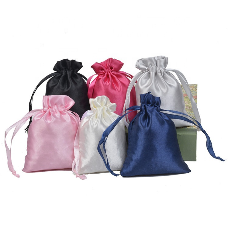 White Satin Drawstring 백 빗 Hair Candy 보석 Necklace * 고리 포장 백 실크 천 Gift Bag Travel Pouch