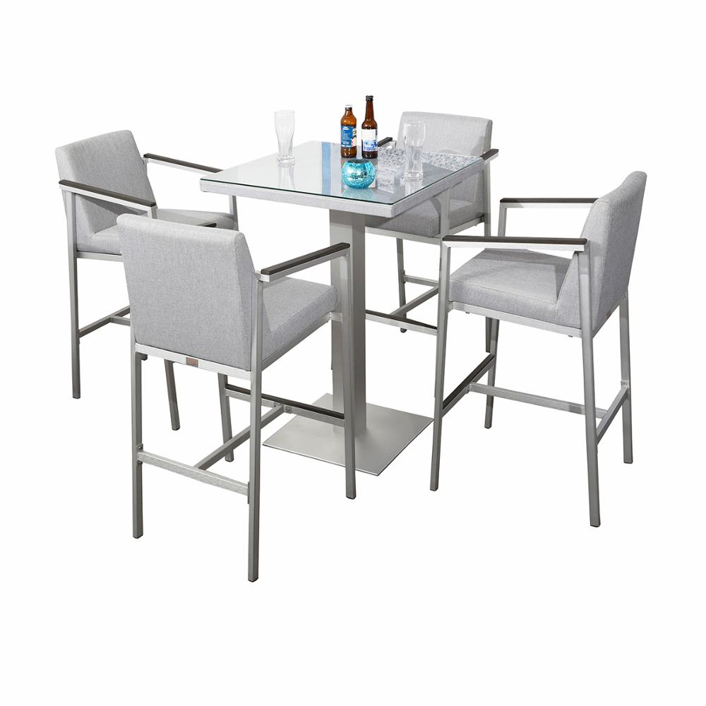 Tempered glass top modern brushed aluminum 4 seater furniture table chairs <strong>bar</strong> outdoor