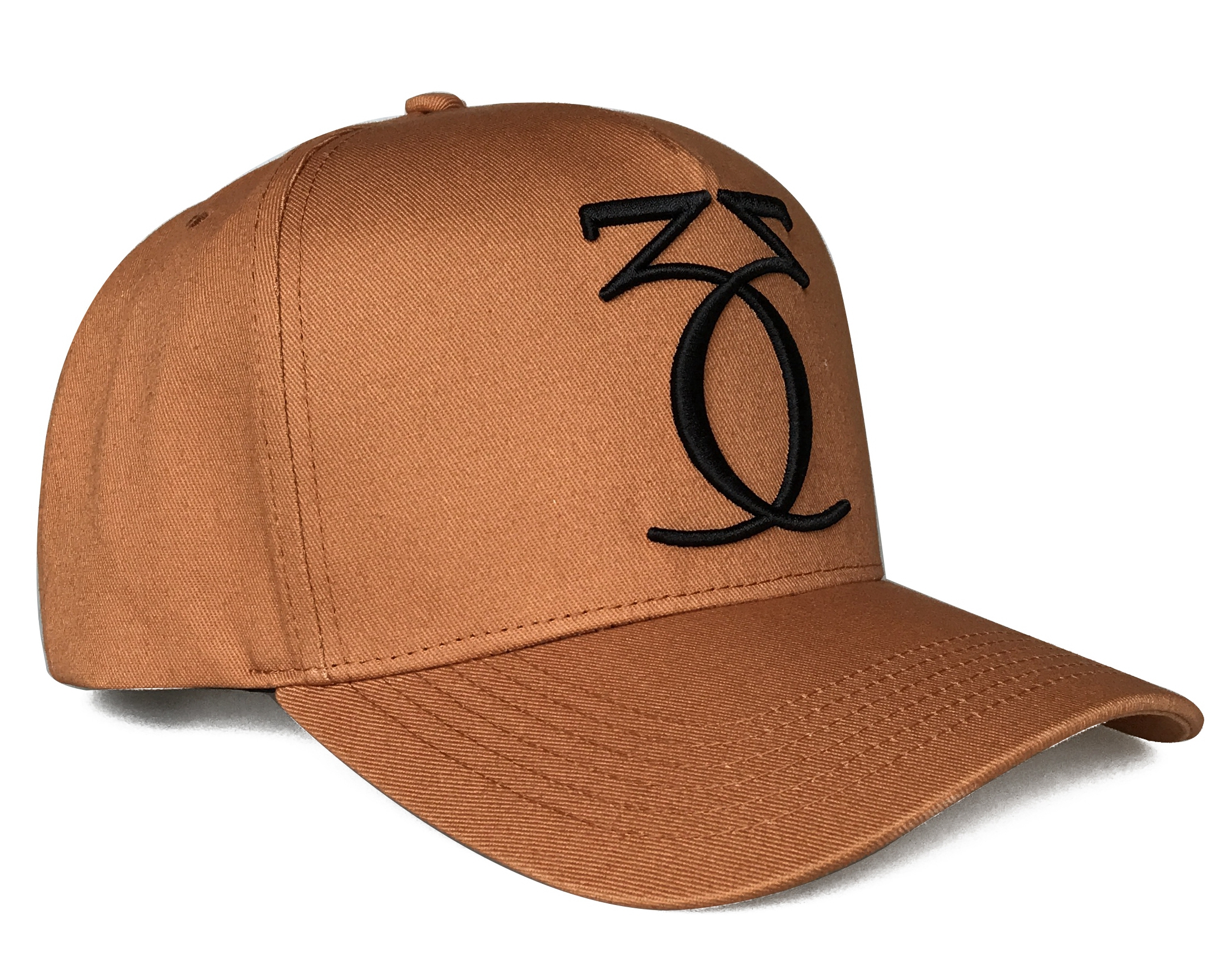 Brown 5 Panel Hat 3D Embroidery logo 5 panel frame Baseball Cap Bamboo Material