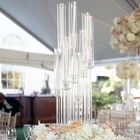 Antique table top decorations wedding crystal candle holder 9 arms large clear crystal hurricane candelabra on sale