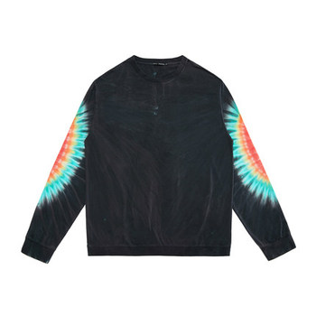 custom tie dye 100 cotton long sleeve black t shirt