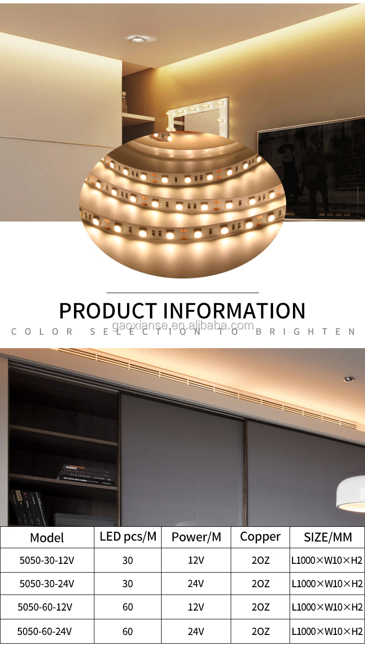 bedroom Interior lighting Warm White 3000K 5M 12V 5050 60LED/M CRI 96 R9>90 led strip lights