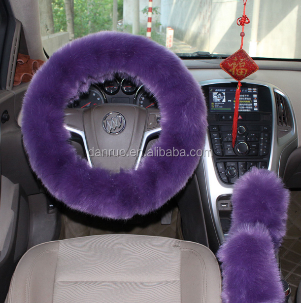 100% fake fur comfortable steering wheel covers gear shift lever cover handbrake sets for winter