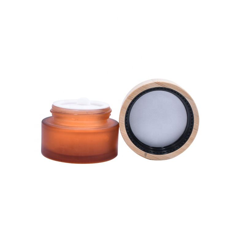 Горячая Распродажа гарантия качества пустой круглый носок, матовые, янтарного стекла 15 мл бамбуковая баночка для принимаем заказы крем косметика