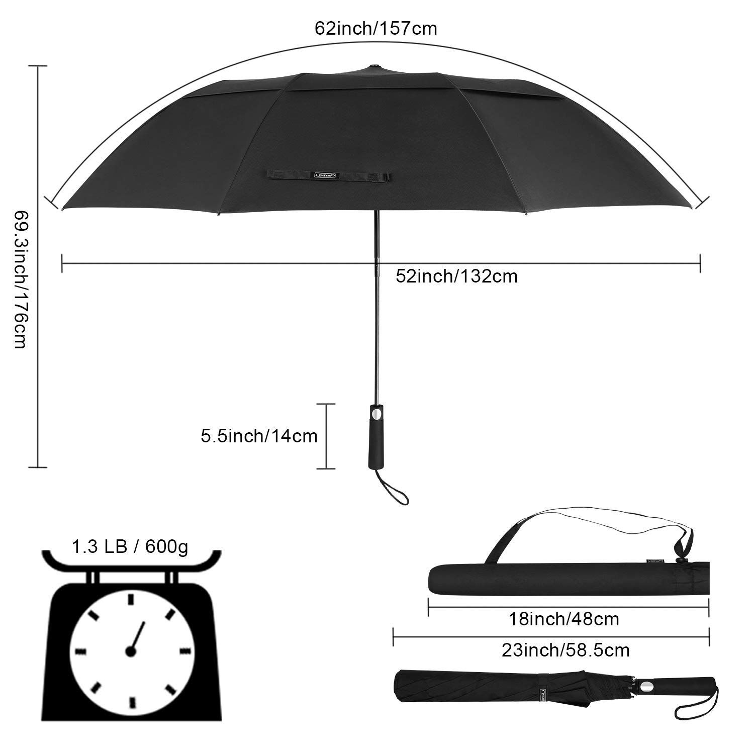 Good quality hot sale large size 2 fold sports umbrellas