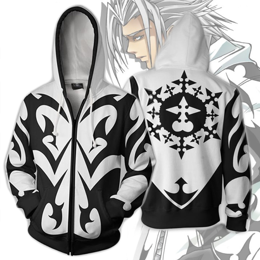 Ecowalson Kingdom Hearts kostuum mannen Sweatshirt Xemnas roxa Cosplay Anime 3D Gedrukt Sweatshirt rits Cartoon hooded