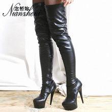 Очень пикантная обувь зимние сапоги на высоком каблуке 15 см, на высоком каблуке, stivali donna высокие сапоги новые модельные модели на платформе 6...(Китай)
