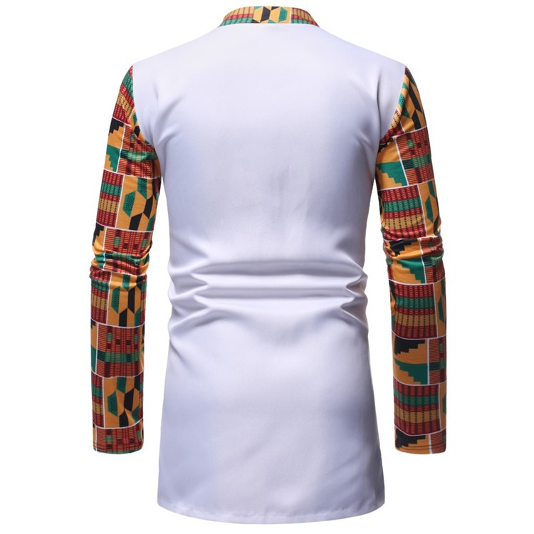 African tribal style men patchwork contrast color long sleeve shirt and white trouser sets