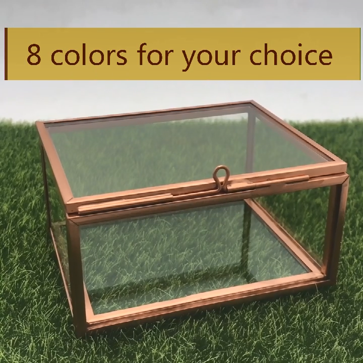 Commercio all'ingrosso piccolo chiaro di lusso di imballaggio di visualizzazione artigianato vino unico regalo gingillo ombra 4*6 5*7 di vetro foto gioielli vetro e scatola di ottone