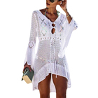 Sexy Crochet Hollow V Neck Beach Tunic Dress Flare Sleeve Bikini swimming suit women