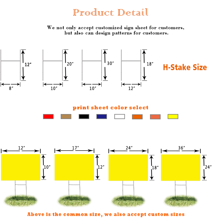 गुणवत्ता मुद्रण अनुकूलित नालीदार खोखले पीपी प्लास्टिक यार्ड साइन नालीदार प्रदर्शन खड़े हो जाओ