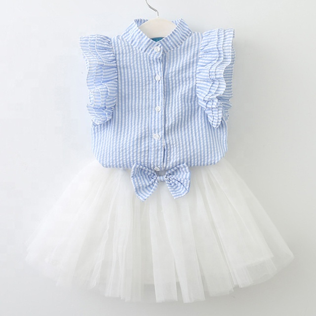 Children Little Girls Shirt Lace Skirt Two Pieces Outfit Party Princess Dress Girl Clothes Set