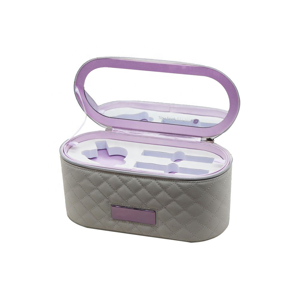 Double pullers zipper mirror luxury portable cosmetic vanity case with fixed handle and EVA tray