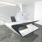 Computer Furniture Desk Computer Table Desk Modern Computer Reception White Furniture Luxury Table Office Desk Corians Stone Boss Use Computer Writing Table